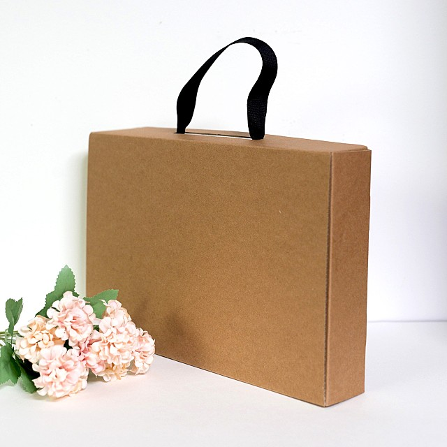 크라프트 끈박스(액자포장 고급 선물 끈 손잡이 박스)